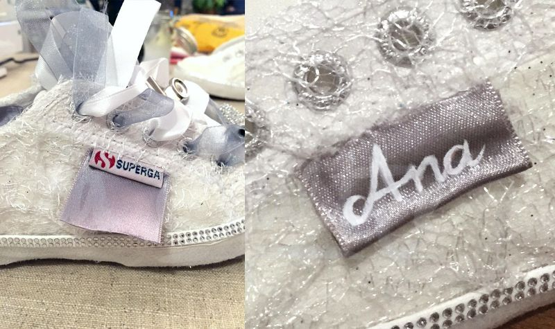 Custom Wedding Sneakers etiqueta
